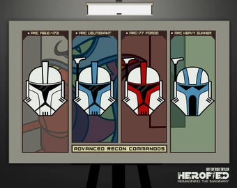 """Star Wars Clone Wars Inspired """"Advanced Recon Commandos"""" 17X11 Art Print by Herofied ARC Troopers The Muunilinst 10 Micro Series"""