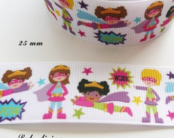 Super hero girl, Super Girl 25 mm white grosgrain Ribbon sold by 50 cm