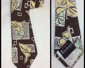 1940's Art Deco Silky rayon Necktie Brown White Pastel Yellow GreenFlowers Leaves large Abstract Patterned 3.75 inch wide Pennleigh