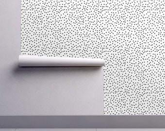 Scattered Dots Wallpaper - Dots Spots Black White By Seasonofvictory - Custom Printed Removable Self Adhesive Wallpaper Roll by Spoonflower