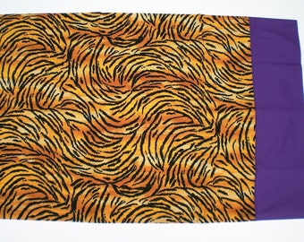 PILLOWCASE - Tiger With Purple Band - King Size - HANDMADE - Other Patterns Available