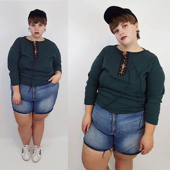 Remade Vintage Lace Up Forest Green Sweater Large XL - 90's Laced Grunge Shirt - Slouchy Baggy Oversized Laceup Soft Cotton Long Sleeve Top