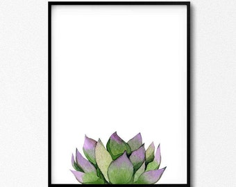 Succulent Art, Plant Watercolor, Succulent Printable, Plant Art, Green Artwork, Kitchen Wall Art, Pink Succulent, Botanical Illustration.