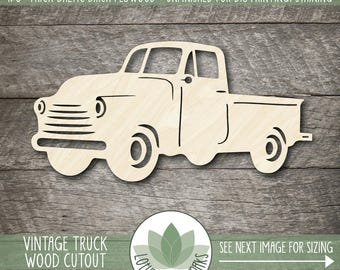 Vintage Truck Wood Cutout, Laser Cut Wood Truck, Unfinished Wood Shapes For DIY Projects, Many Size Options Available, Blank Wood Shapes