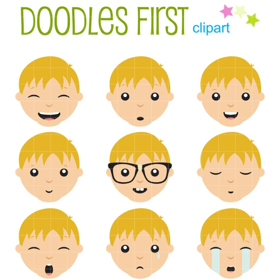 boys facial expressions clip art for scrapbooking card making rh etsy com face expressions clip art cartoon facial expressions clipart