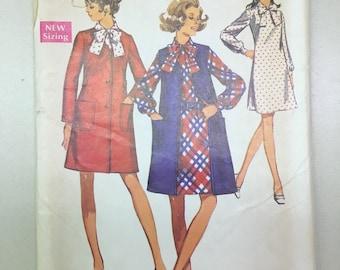 Simplicity 8660 COMPLETE vintage sewing pattern Misses Dress & Coat Size 16.5 Bust 39
