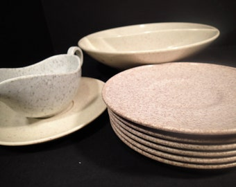 Earth Tone Speckle Ware Melmac Melamine, Holiday by Kenro, saucer and divided serving bowl, Texas Ware San Jacinto saucers, Unmarked creamer