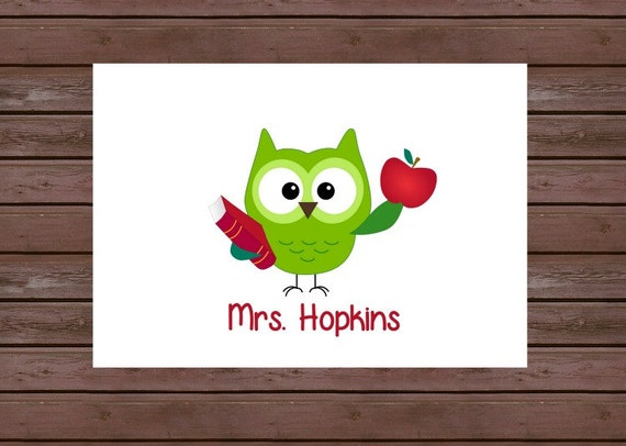 Owl Note Cards/Personalized Stationary for Teacher/ Boxed Set of 10