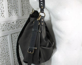 Talia is a roomy and soft shoulder bag, leather purse, italian quality leather, handmade in Italy, more color: grey, mauve, dark brown