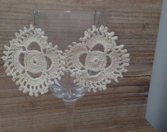 Beige lace earrings made by hand crocheted cotton lace