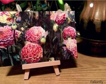 Original Watercolor Dahlia Art Postcard, Art Print, Flowers, Floral, Postcard