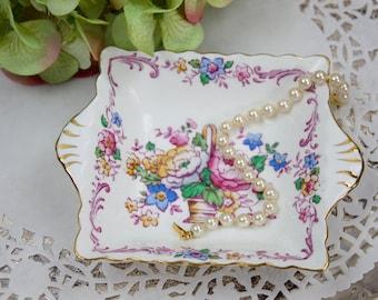English Trinket Tray, Candy Dish, Soap Dish, Floral Bouquet Dish, Crown Staffordshire, England, Fine Bone China, c1930, Vintage Home Decor