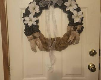 Burlap and black wreath