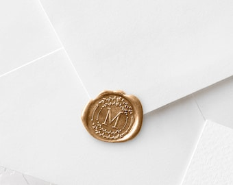 Monogram Wax Stamp | Double Heart + Leaves Wreath | Sealing Kit | Wax Sticks Included | Wedding Seal Wax Stamp (343)