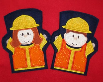 Digital Download Construction Worker Hand Puppets In The Hoop Embroidery Machine Designs for the 5x7 hoop