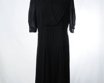 Vintage black sheer sleeve pleated midi dress
