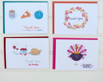 Thanksgiving Thank You Cards, Hostess Thank You Cards, Set of 4 Cards, Thank You Cards, Holiday Thank You Cards, Thank You for Hosting Cards