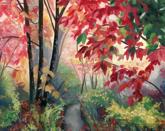 Colourful Woodland Oil Painting - Fine Art Print by Emily Luella