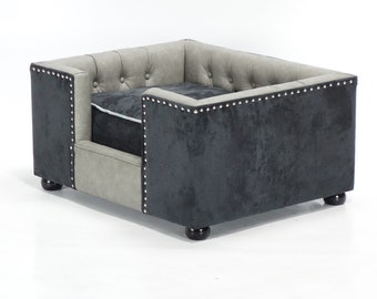 Lxury dog bed chesterfield made by The Fabulous Dog Bed Company Hampton grey leather