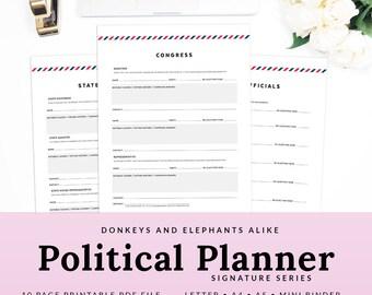 Politics Printable Planner Election Tracker Worksheets United States U.S. Representatives Candidates | PPOL-1000-A, Instant Download