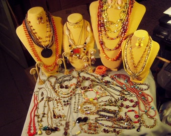 Vintage Lot Brown Amber Orange AB Glass Costume Jewelry Necklaces Earrings Bracelets Pin 63 Pcs  9449