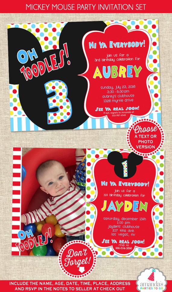 Mickey Mouse Birthday Invitation Mickey Mouse Party