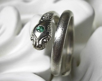 Snake Ring - emerald and recycled sterling silver