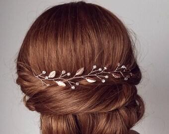 Rose Gold Hair Vine, Leaf Vine, Leaf Hair Piece, Rose Gold Hair Piece, Bridal Hair Piece, Wedding Hair Piece, Bridal Hair Accessory