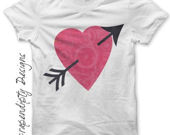 Valentines Day Iron on Transfer - Heart Iron on Shirt / Kids Girls Clothes / Valentines Baby Love Clothing / Cupid Toddler Tshirt IT161