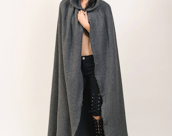 Gray Hooded Cape, Assasin Hooded Cloack Unisex