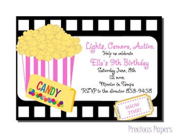 Movie birthday invitations Movie Birthday Party Invitations Printable Download within 24 hours