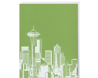 Single Seattle Skyline Card -- Your choice of  Apple Green or Evergreen