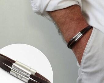 Personalized bracelet, Engraved bracelet, men's bracelet, Leather bracelet, Gift for father, Gift for men, Daddy gift, Bracelet for men