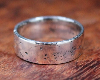 Flat Band, Rustic Wedding Band, Textured Band, Sterling Silver Ring, Organic Band, Men's Wedding Ring, Matt Finish.