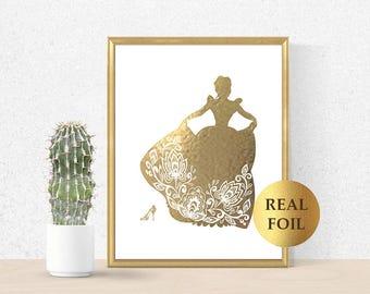 Cinderella Print, Cinderella Princess, Cinderella Real Gold Foil, Art Print, Cinderella decor, Princess Birthday Party