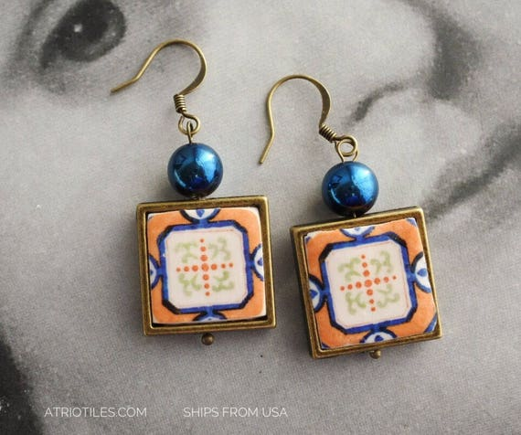 Earrings Portugal Tile Portuguese Azulejo - Ovar, Orange Geometric Ships from USA - Gift Box included 1519