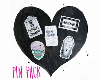 PIN PACK - Five pin sets on illustrated backing cards -gloomy and grumpy, cake zombie, candyskulls, vampire valentine, batcat