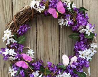 Butterfly lilac wreath
