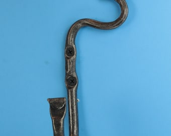 Organic or folded leaf wall J hook hand forged by a blacksmith in the USA