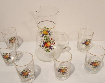 Vintage Juice Pitcher and 6 Matching Juice Glasses - Fruit Design
