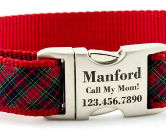 Red Dog Collar / Plaid Dog Collar / Adjustable Collar is Personalized with a Laser Engraved Metal Buckle  -- Perfect for Boy Dog or Girl Dog