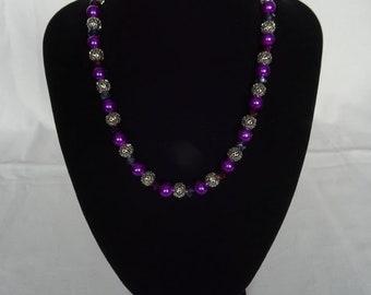Purple/silver-toned necklace,  magnetic clasp, UK shop