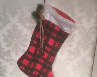 Large Tartan Christmas Stocking