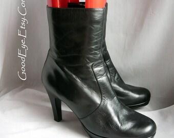 Vintage High Heel PLATFORM Ankle Boots / size 10 Eu 42 Uk 7 .5 / Black Leather Stiletto Granny Boot / Nine West