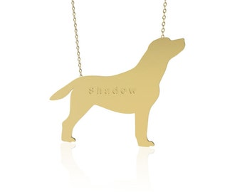 Gold Dog necklace ,Labrador dog necklace, animal jewelry ,personalized dog necklace, name necklace, engraved necklace