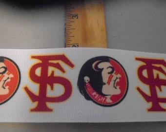 2 yards of 2 Inch Wide Florida State Seminoles University  grosgrain ribbon