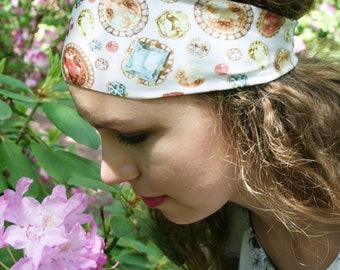 Gemstone Headband, Jewelry Headband, Gem Stone Headband, White Headband, Yoga Headband, Wide Headband, Workout Headband, LAVISH