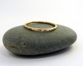 Single 14K Gold Filled Hammered Stacking Ring