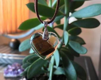 Tigers Eye & Opal Resin Heart Pendant Necklace