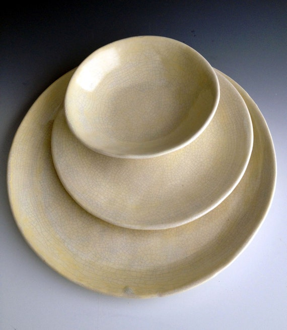 & Handmade organic stoneware dinnerware place settings set of